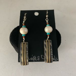 Pearl Earrings with Gold and Silver Metal Work